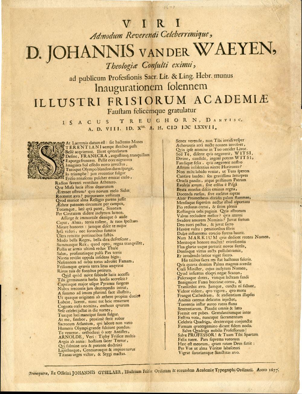Aankondiging van de inauguratie van D. Johannis van der Wagen