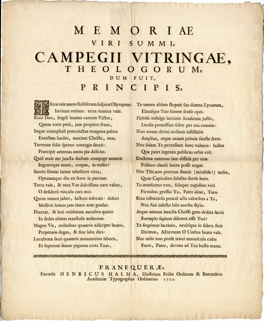 Overlijdensgeschrift van Campegius Vitringa