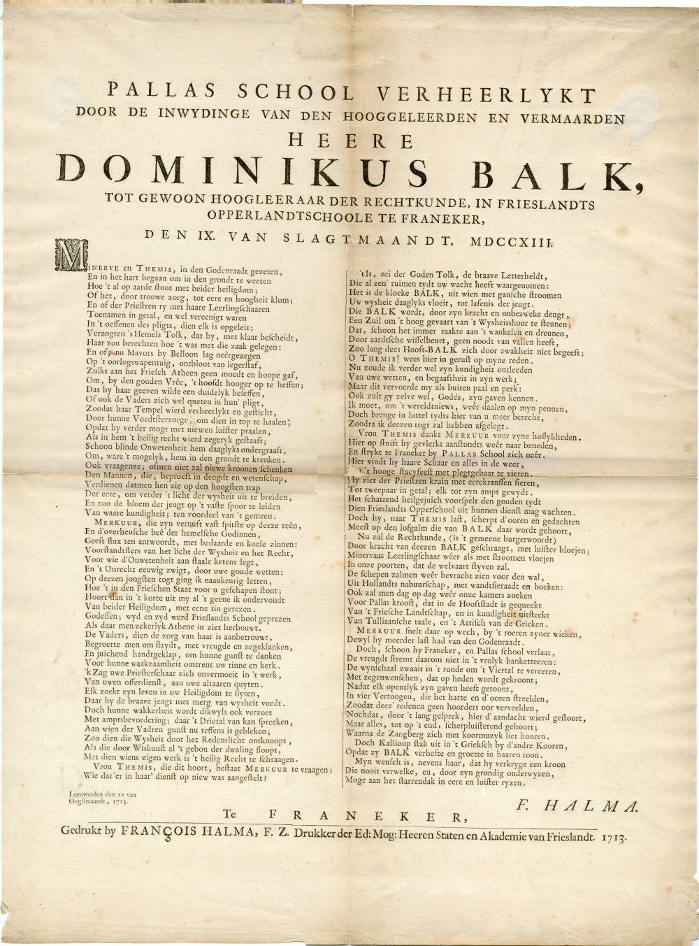 Geschrift van F. Halma betreffende de inwijding van Dominikus Balk tot gewoon hoogleraar rechten