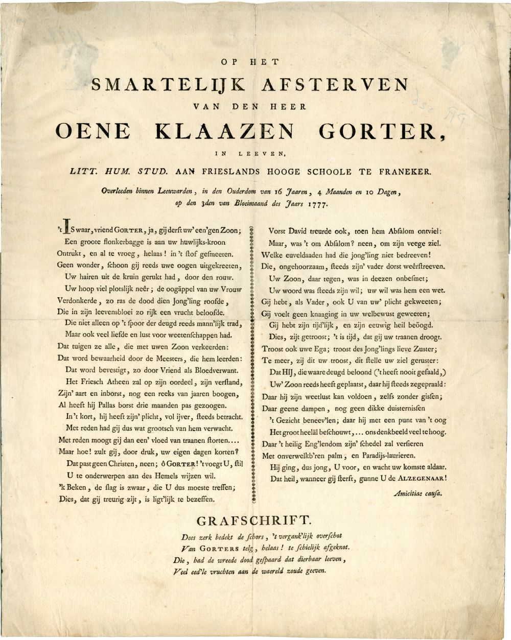 Geschrift in het Latijn betreffende het overlijden Oene Klaazen Gorter, student