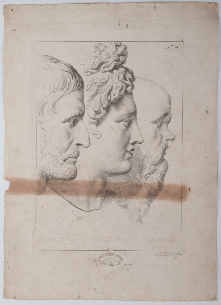 Tekenvoorbeeld van drie koppen, gebaseerd op klassieke beelden door M. J. van Bree