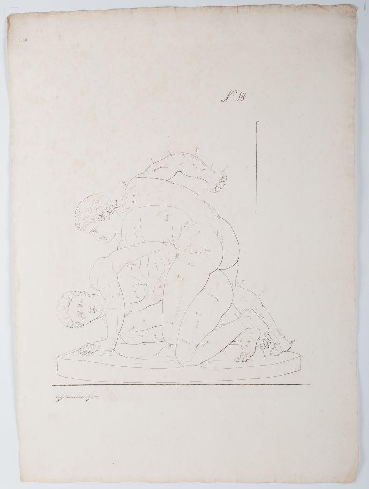 Tekenvoorbeeld van twee worstelende mannen