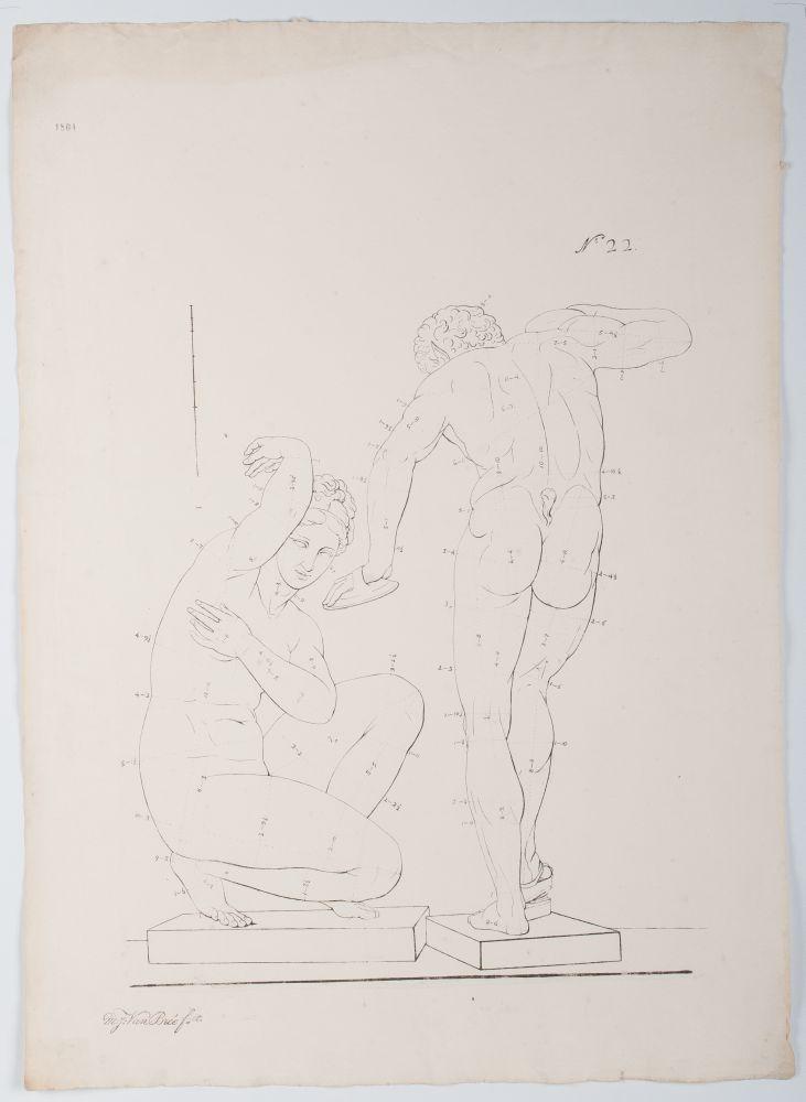 Tekenvoorbeeld van de achterkant van een mannnenfiguur en een zittende putti