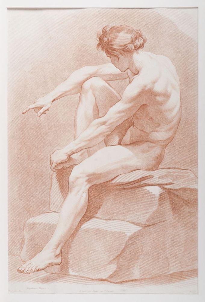 Ets in crayonmanier van een tekenvoorbeeld van een zittende man op een stenen trap door Bouchardon en Bonnet