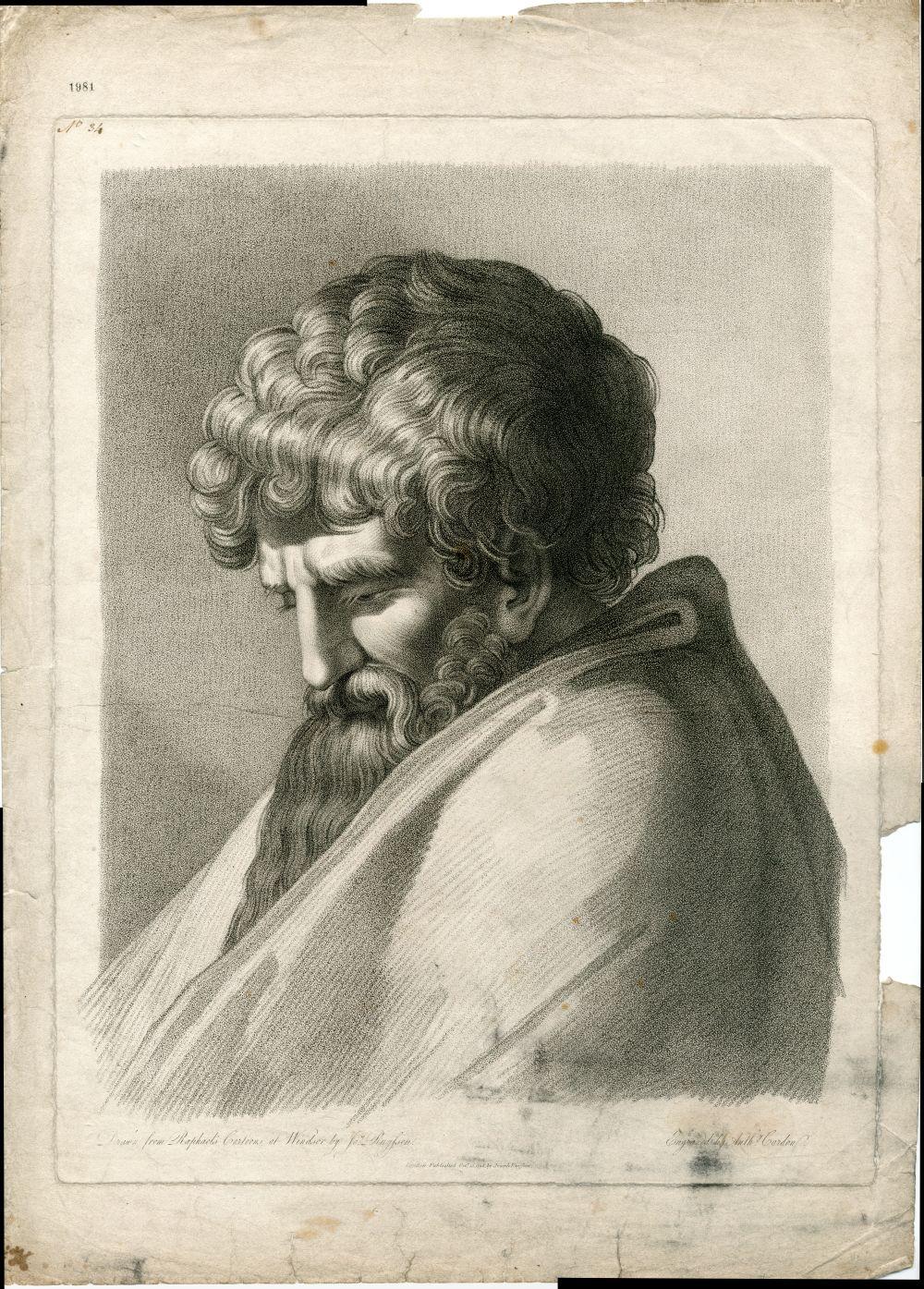 Tekenvoorbeeld van een mannenhoofd naar Raphael