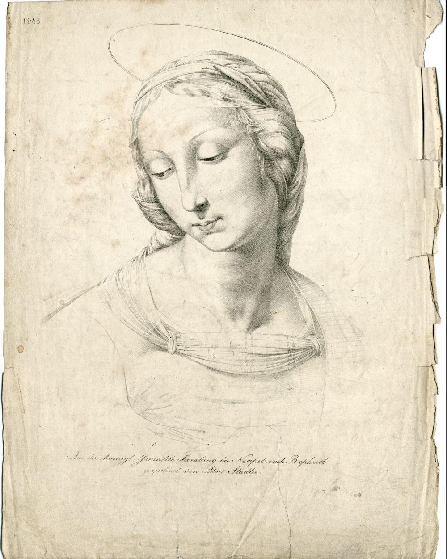 Tekenvoorbeeld van een heilige vrouw naar Raphael