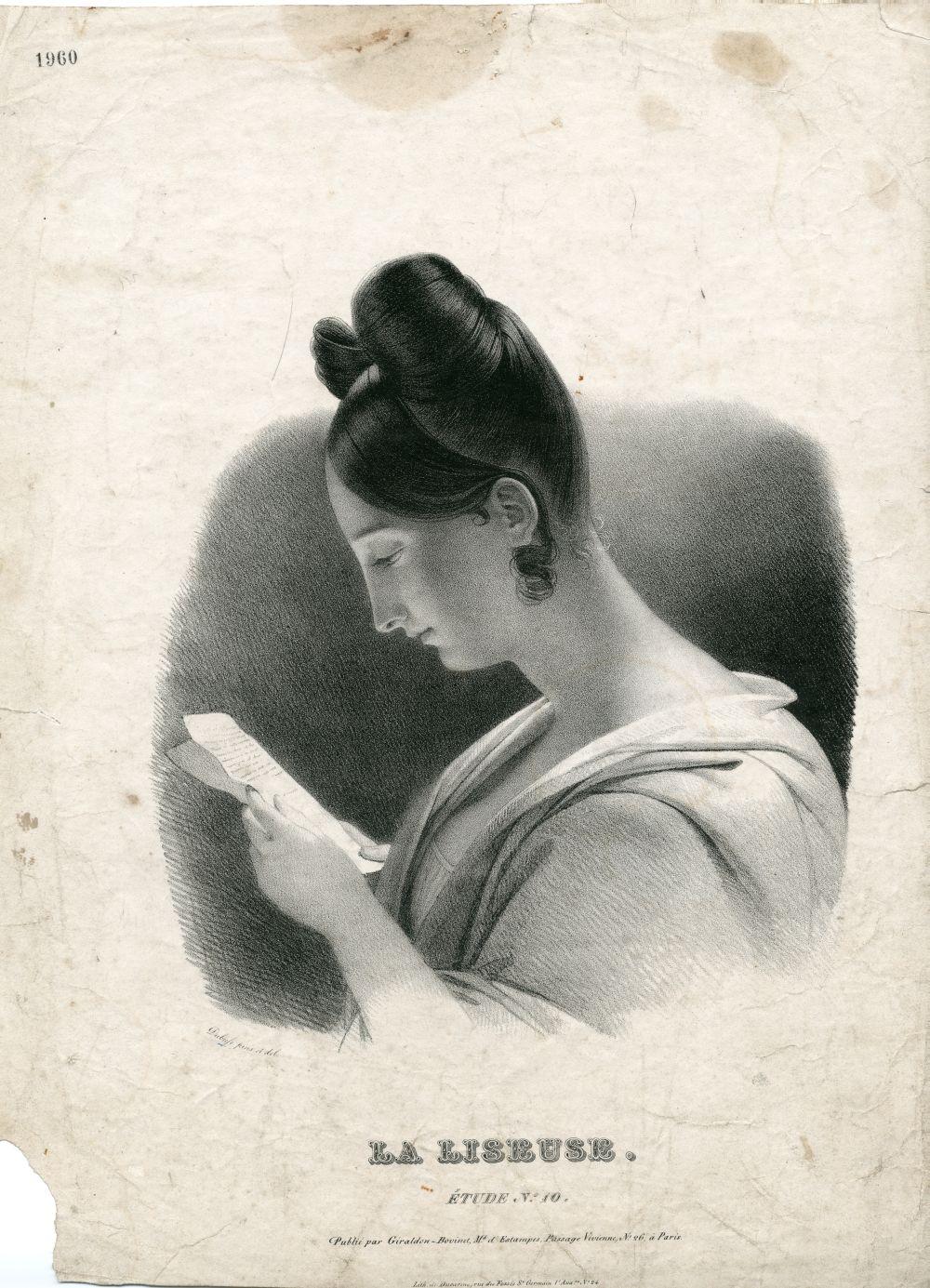 Tekenvoorbeeld van een lezende dame