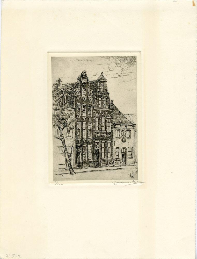 Ets van drie panden aan de Voorstraat in Franeker door Johan Hemkes