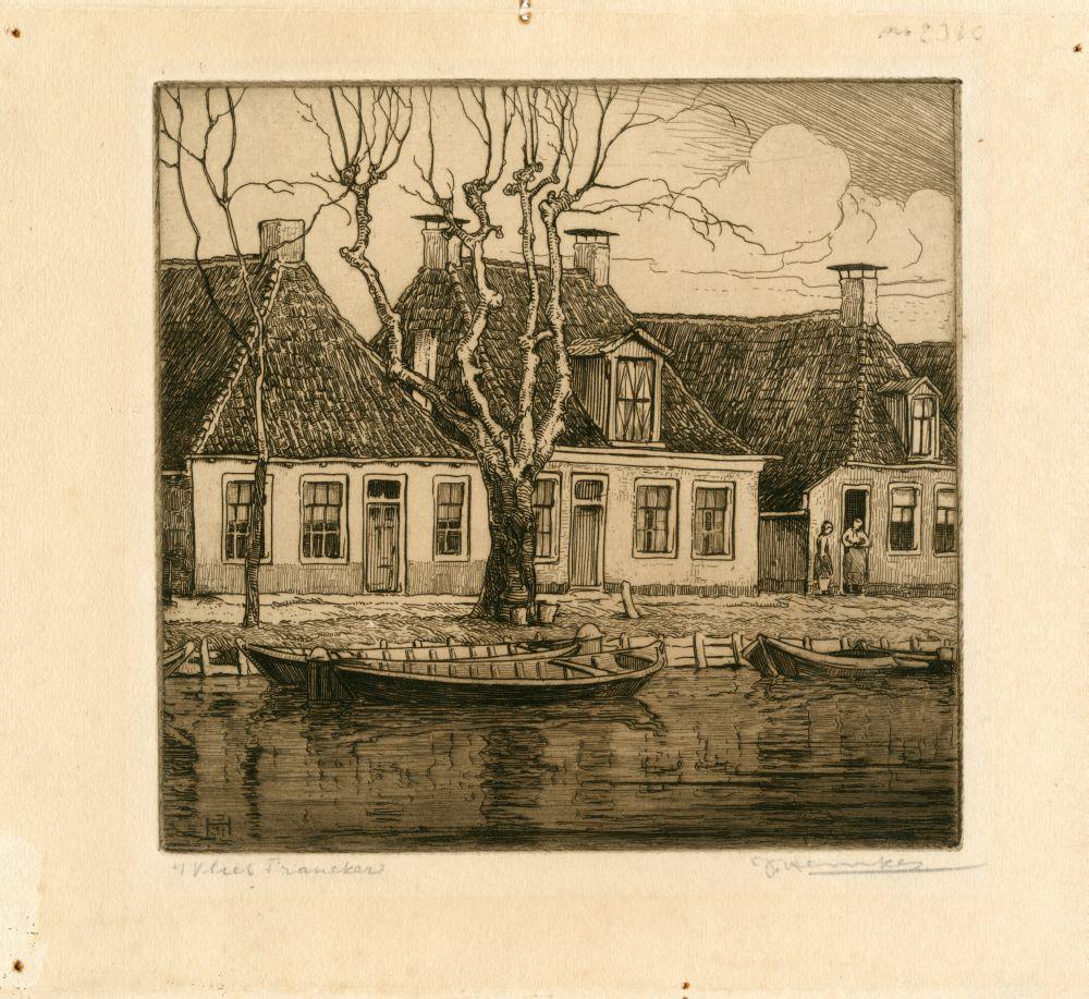 Ets van drie huizen aan het Vliet in Franeker door Johan Hemkes