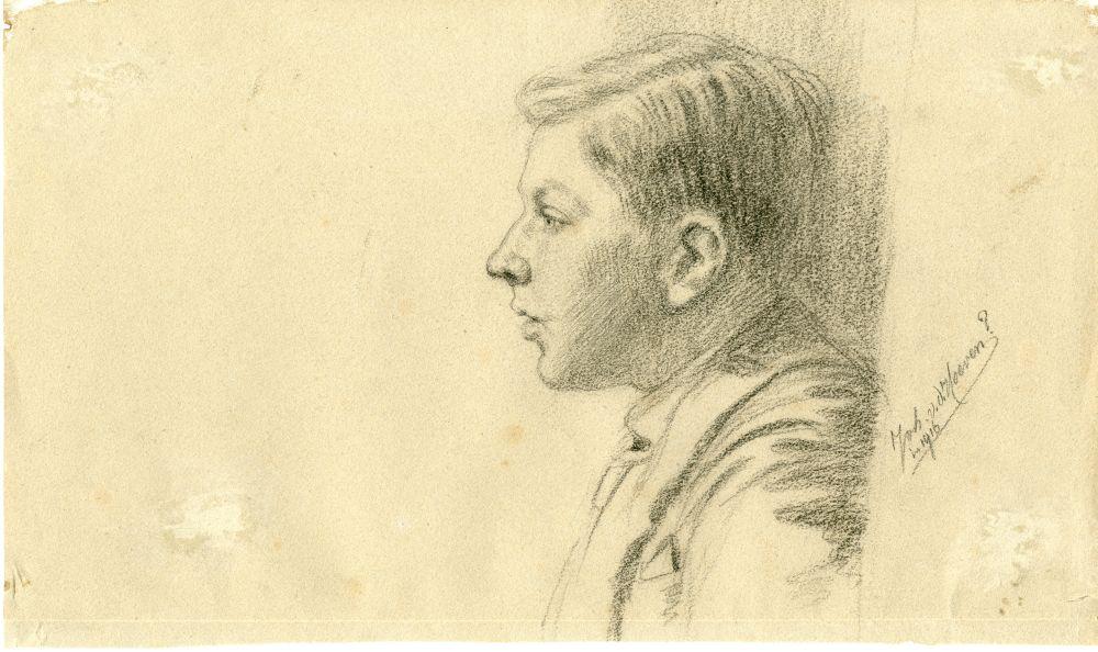 Dubbelzijdige tekening met potlood van een winters tafereel bij Franeker en een portret van een man door Ids Wiersma
