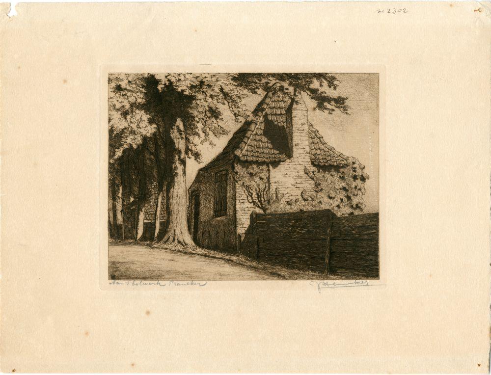Ets van een huisje aan het Bolwerk in Franeker door Johan Hemkes
