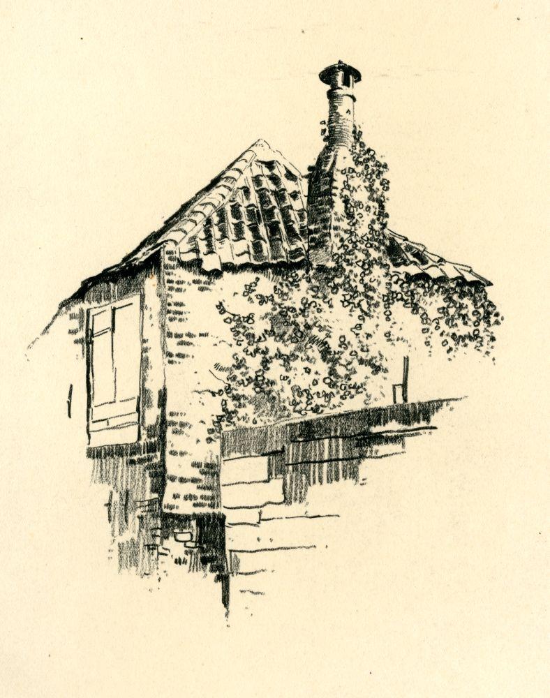 Tekening met potlood van een stenen huisje door Bouke van der Sloot