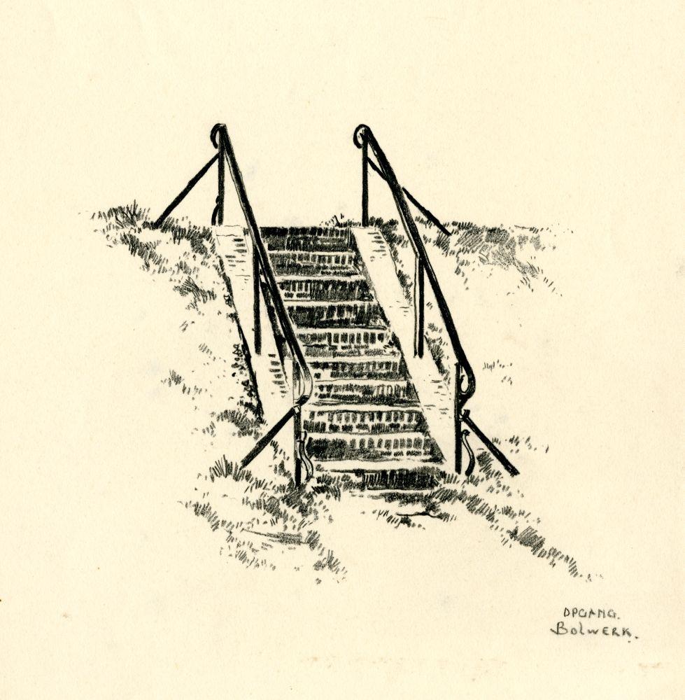 Tekening met potlood van een trapopgang aan het Bolwerk in Franeker door Bouke van der Sloot