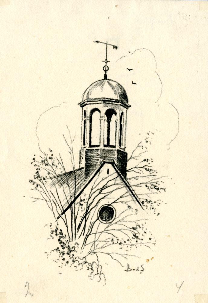 Tekening met potlood van het torentje op het voormalige academiegebouw in Franeker door Bouke van der Sloot