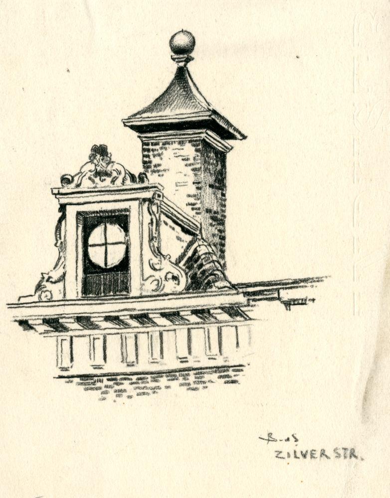 Tekening met potlood van een dakkapel en torentje in de Zilverstraat in Franeker door Bouke van der Sloot
