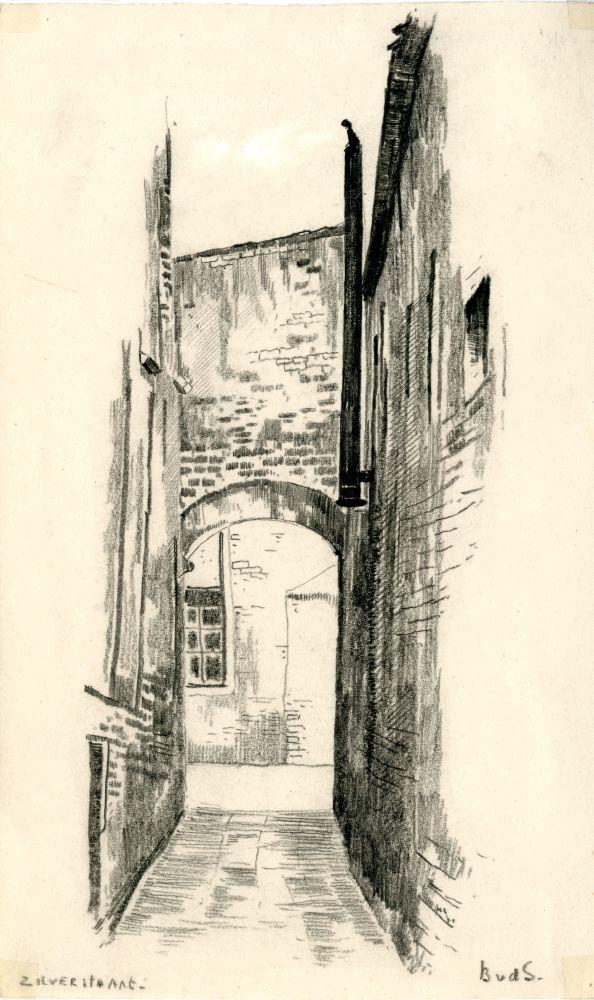 Tekening met potlood van een steeg in de Zilverstraat in Franeker door Bouke van der Sloot