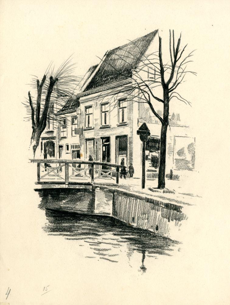 Tekening met potlood van de Zilverstraat in Franeker door Bouke van der Sloot