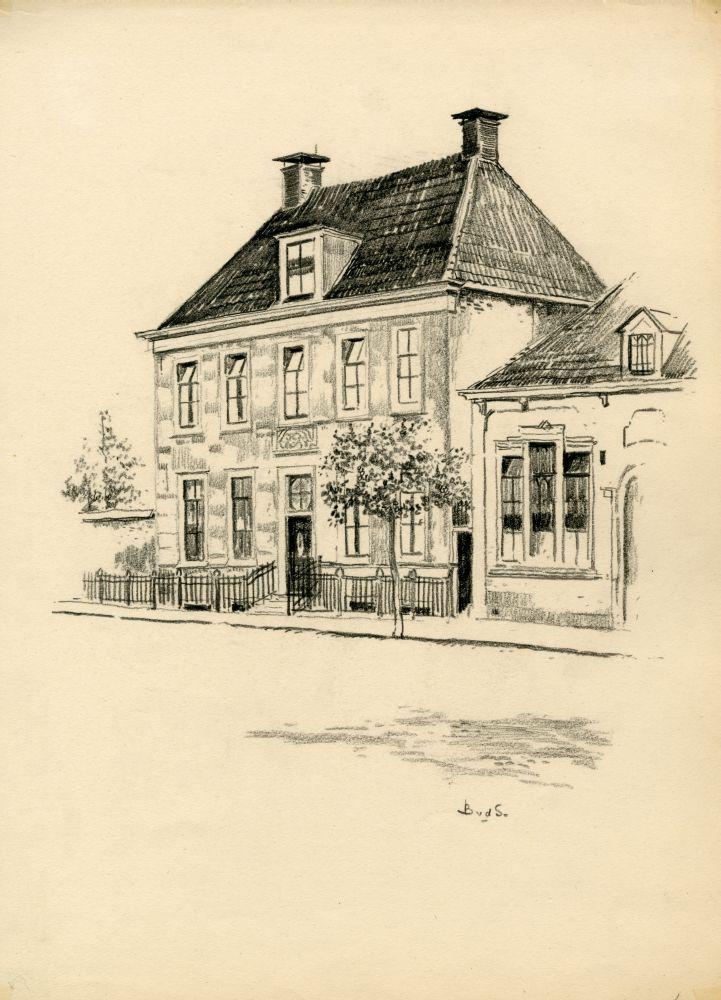 Tekening met potlood van het Feikemahuis aan de Voorstraat in Franeker door Bouke van der Sloot