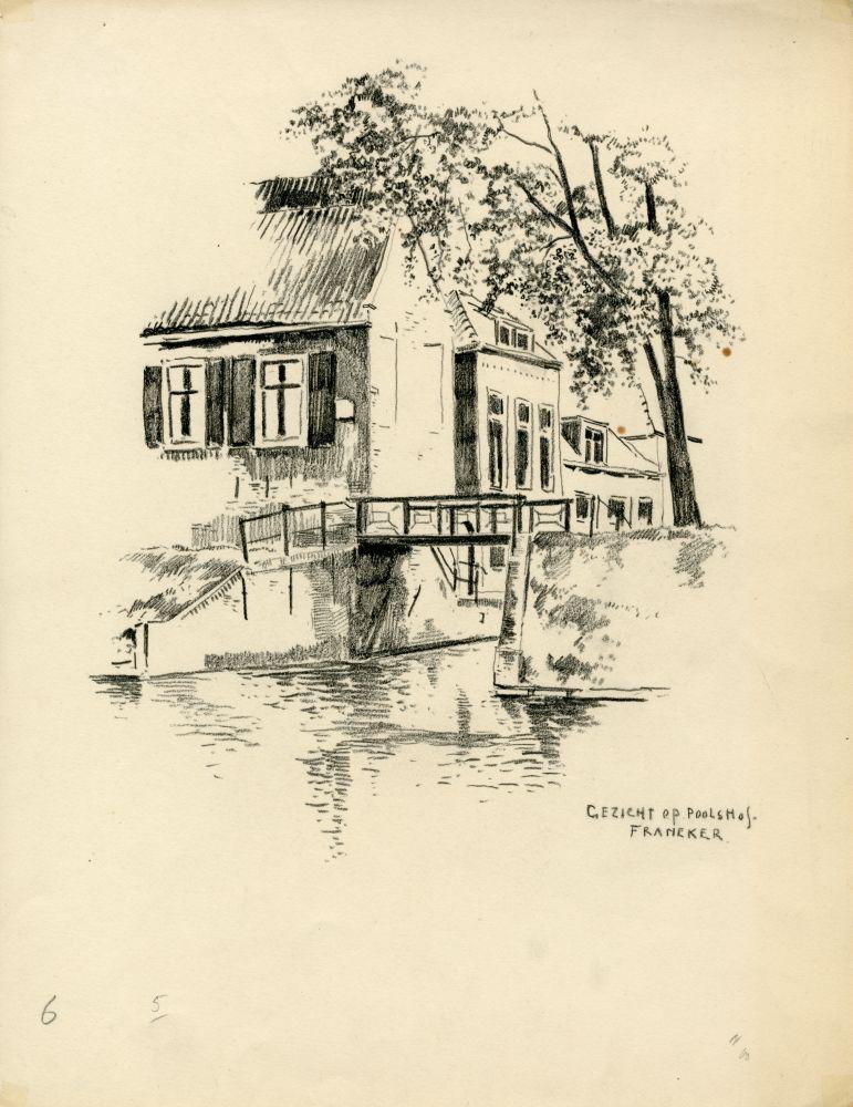 Tekening met potlood van pakhuis Poolshof in Franeker door Bouke van der Sloot