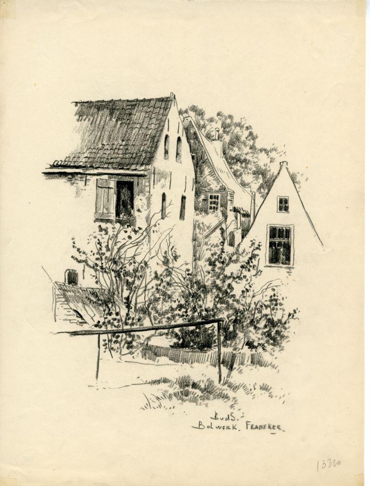 Tekening met potlood van het Bolwerk in Franeker door Bouke van der Sloot