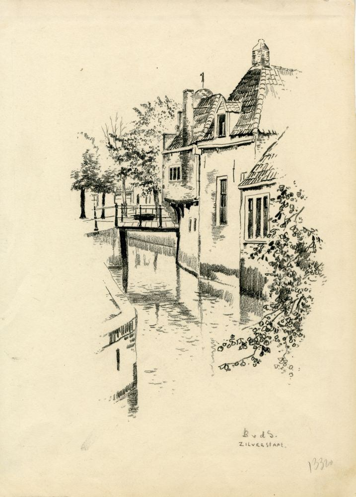 Tekening met potlood van een gracht in Franeker met het Korendragershuisje door Bouke van der Sloot.