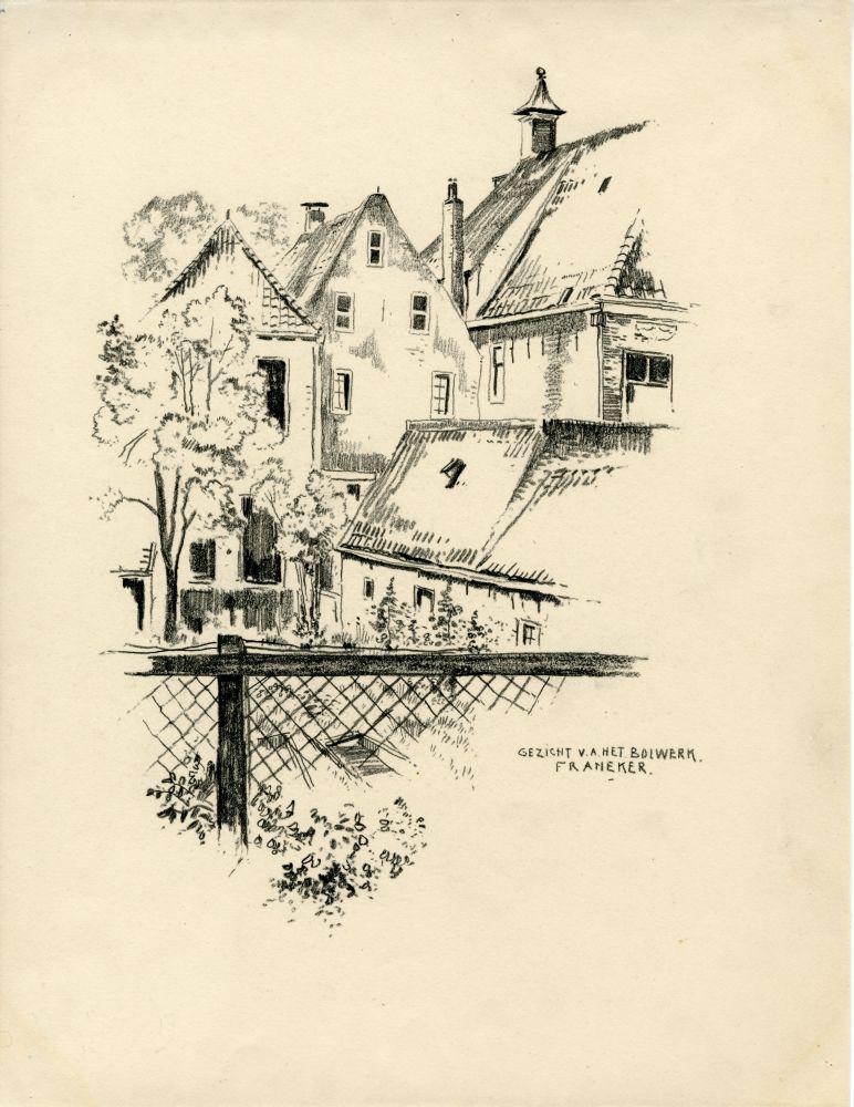 Tekening met potlood vanaf het Bolwerk in Franeker door Bouke van der Sloot