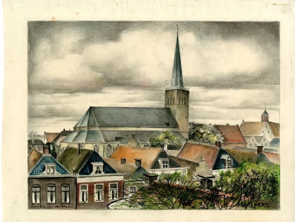 Tekening met potlood en pastelkrijt van een stadsgezicht in Franeker door Bouke van der Sloot