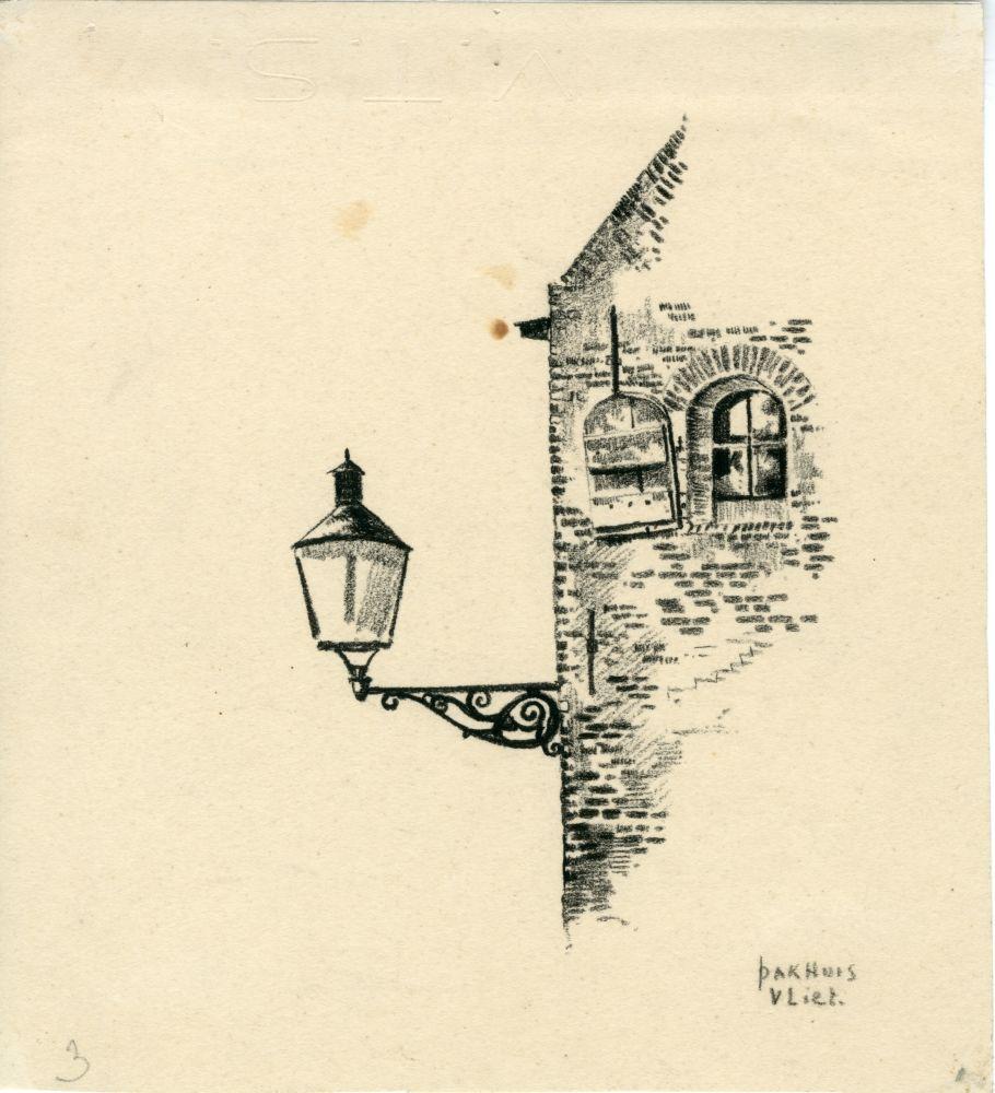 Tekening met potlood van een lantaarn aan een pakhuis aan het Vliet in Franeker door Bouke van der Sloot