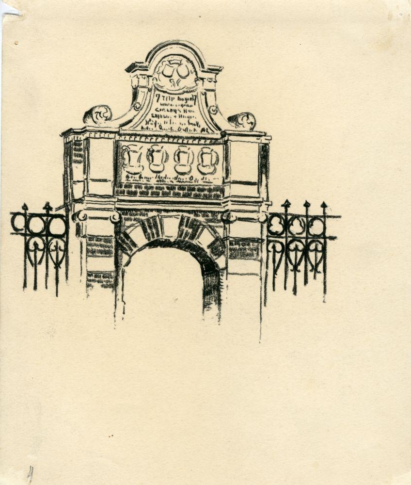Tekening met potlood van de toegangspoort naar het Westerhuis Vrouwengasthuis in Franeker door Bouke van der Sloot