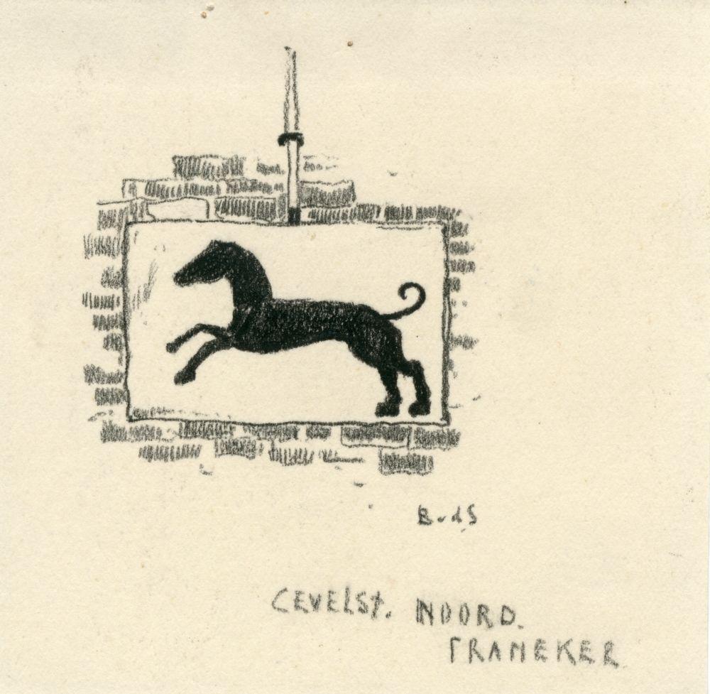 Tekening met potlood van een gevelsteen aan het Noord in Franeker door Bouke van der Sloot