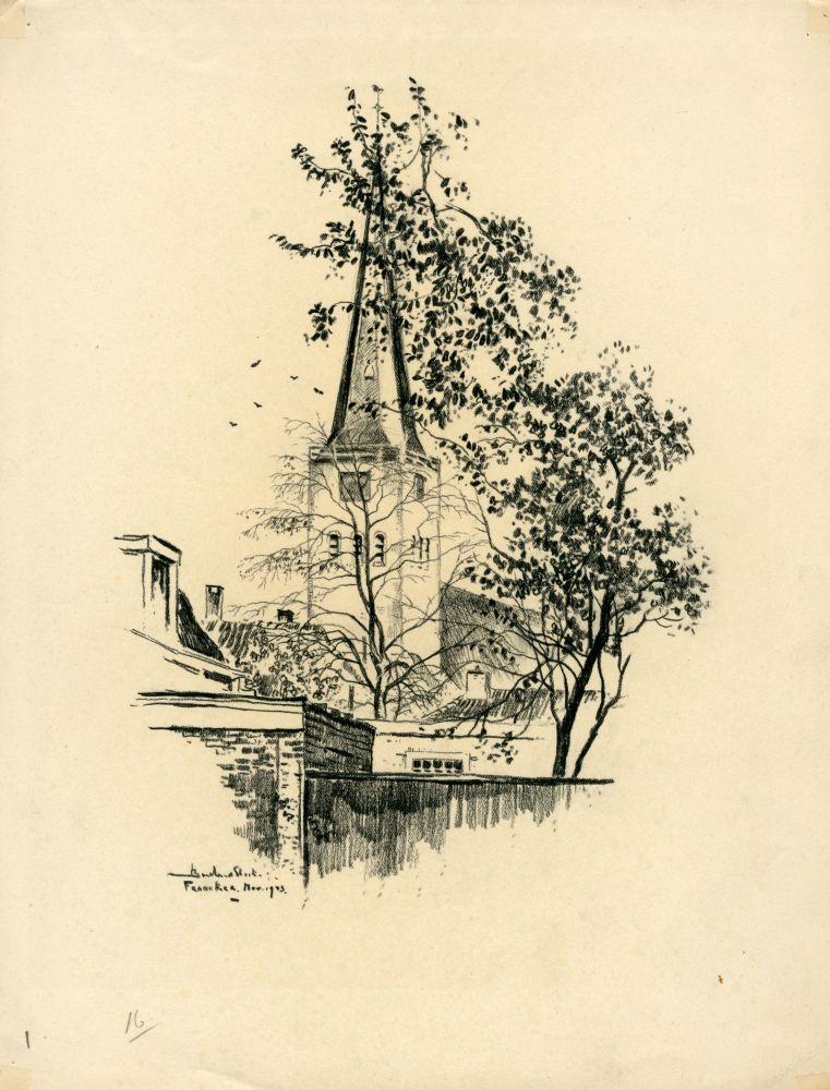 Tekening met potlood van de toren van de Martinikerk in Franeker door Bouke van der Sloot