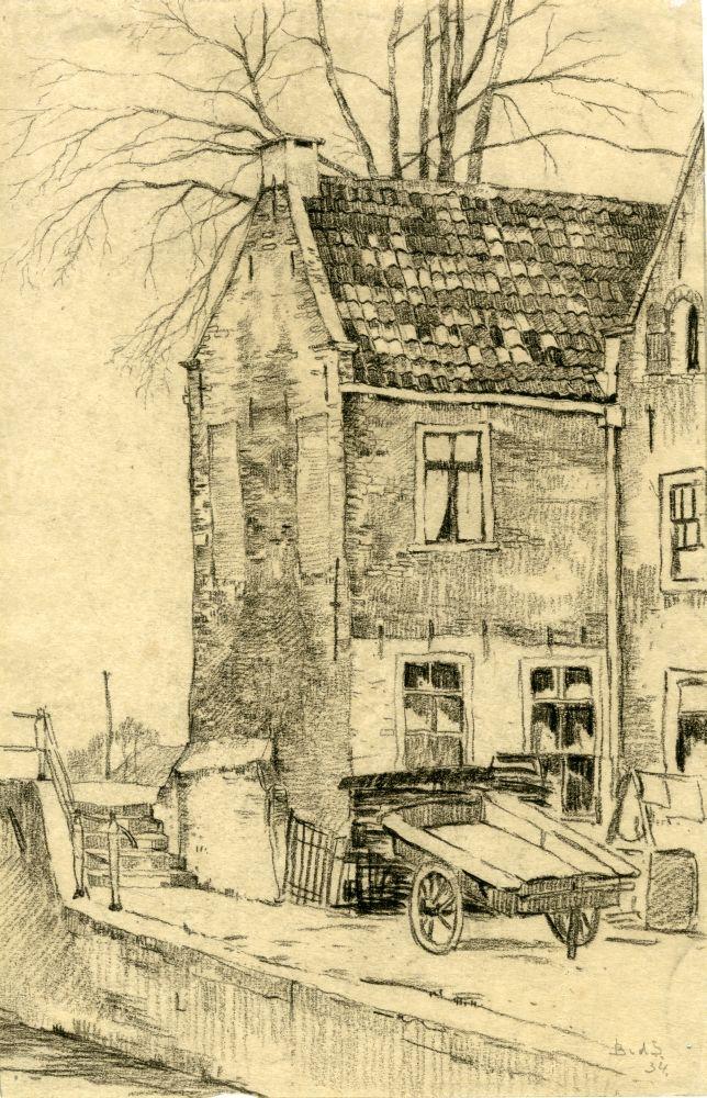 Tekening met potlood van de Froonacker in Franeker door door Bouke van der Sloot