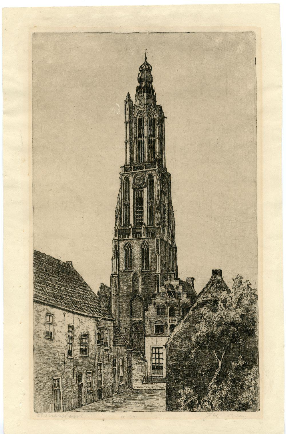 Ets van de toren van Amersfoort door J. van Oeveren