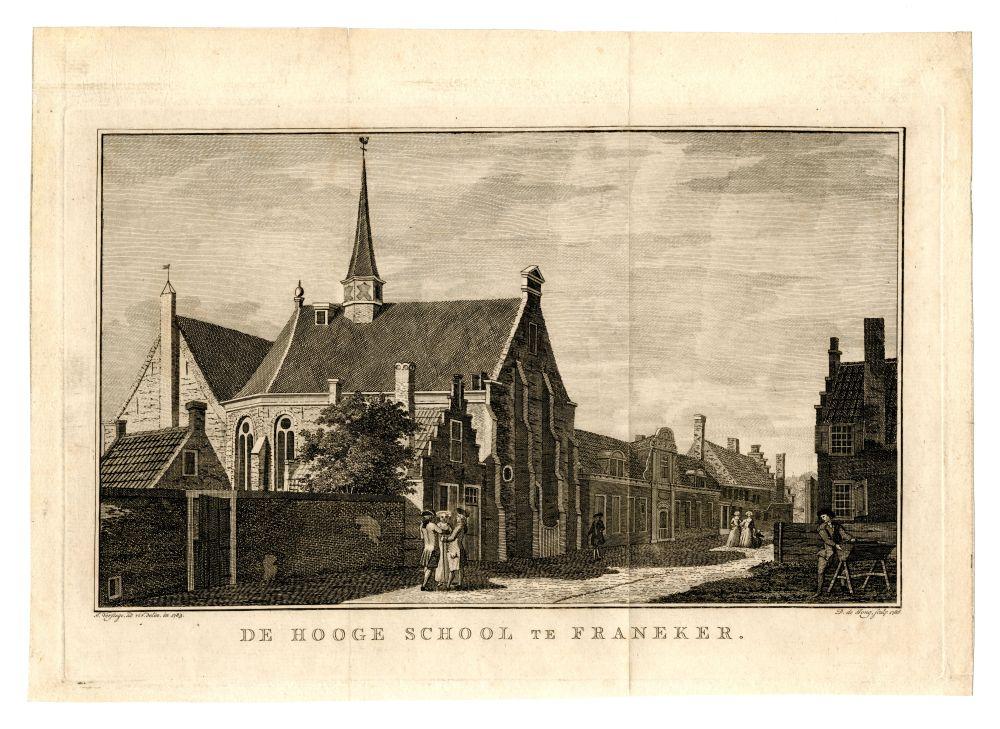 Gravure van de Franeker universiteit door D. de Jong