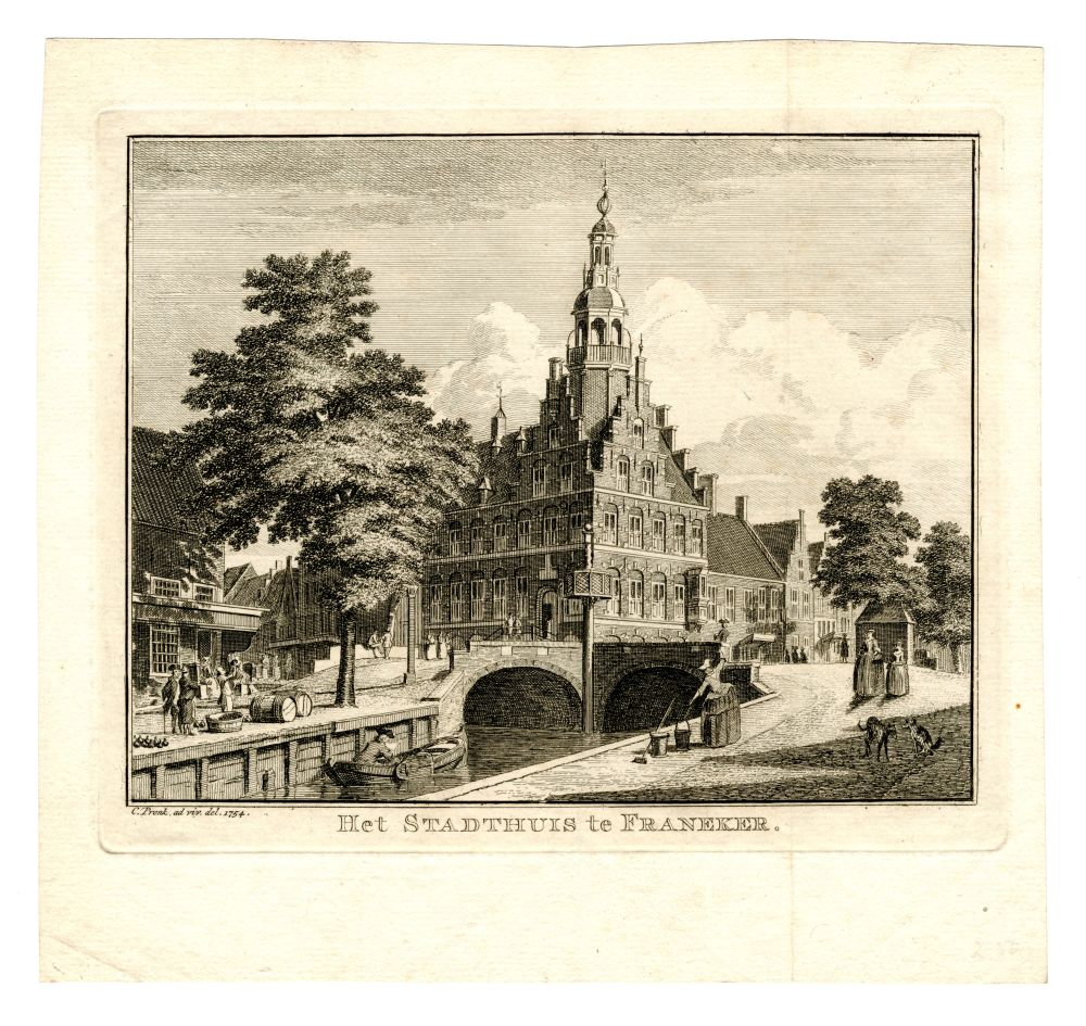 Ets van het stadhuis in Franeker door C. Pronk