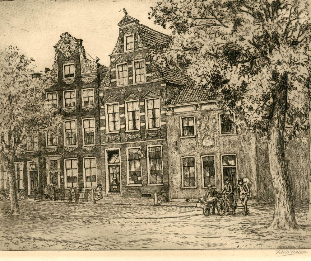 Ets van drie panden aan de Voorstraat te Franeker door Ids Wiersma