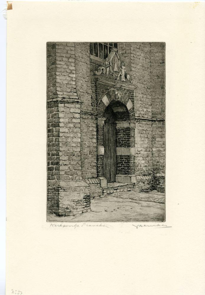 Ets van het poortje in de kooromgang van de Martinikerk in Franeker door Johan Hemkes