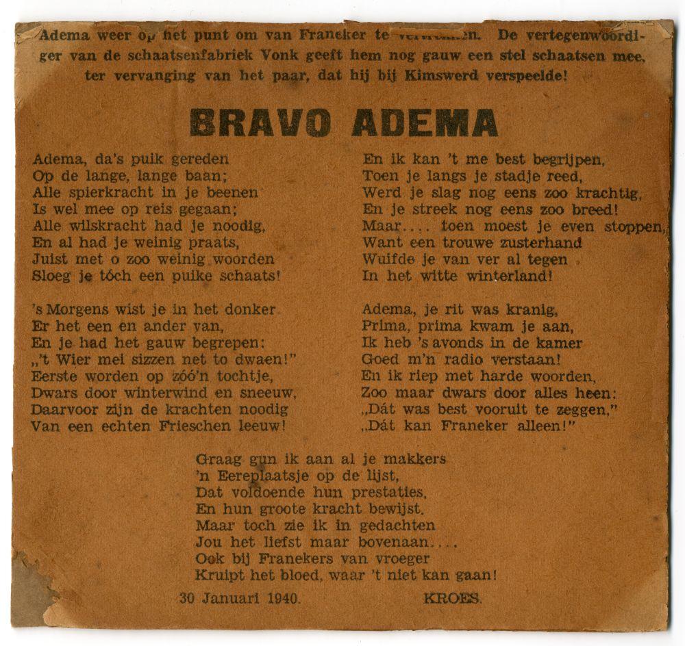 Gedicht voor de winnaar van de Elfstedentocht uit 1940