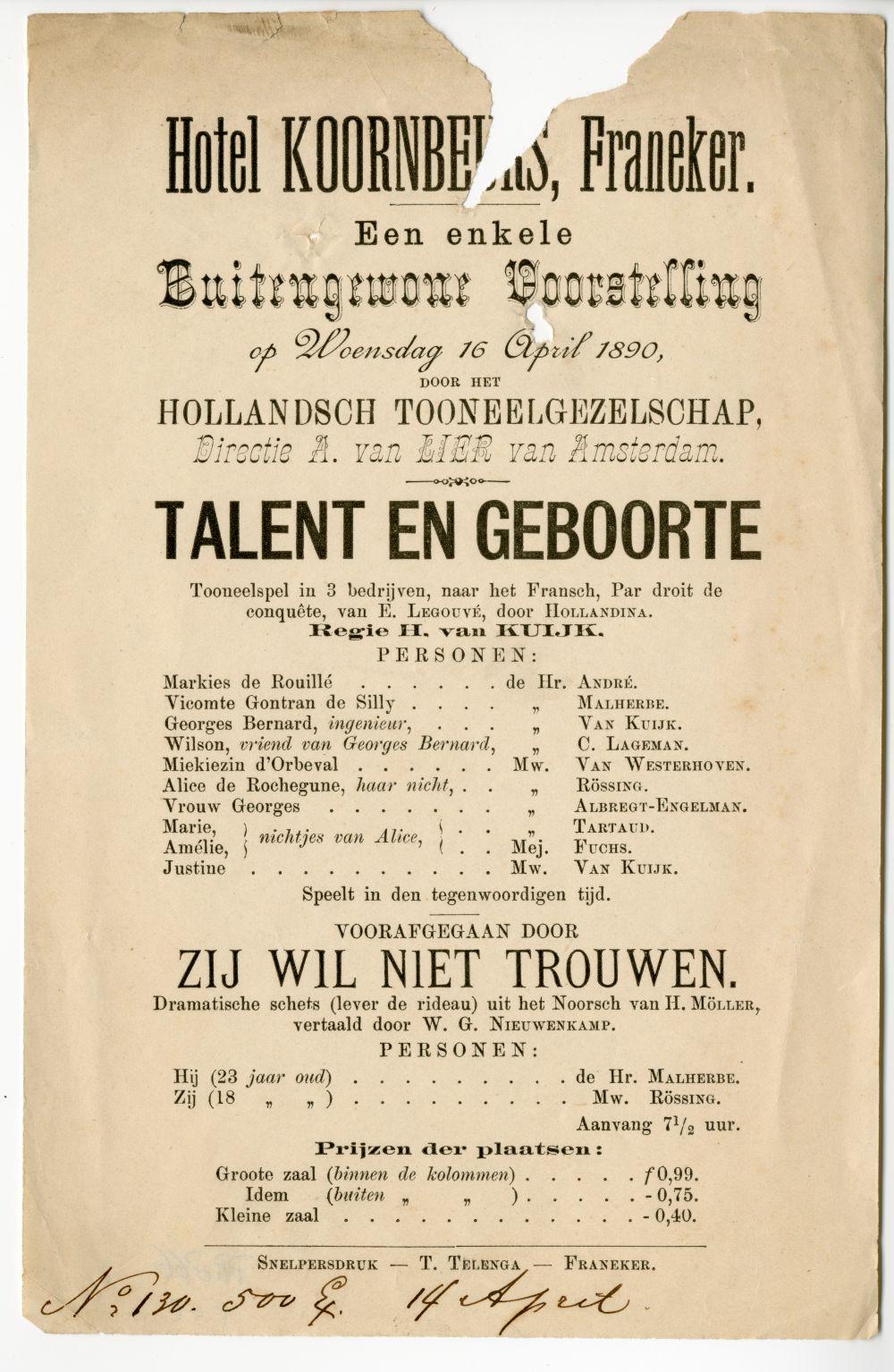 Programma van een toneelstuk, opgevoerd in de Koornbeurs in Franeker