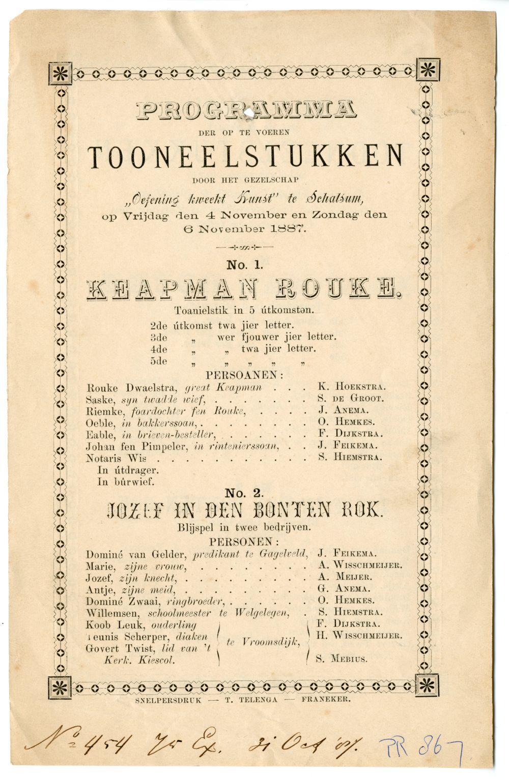 Programma van een toneelstuk opgevoerd in Schalsum