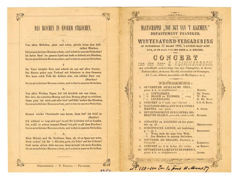 Programma van een vergadering van de Maatschappij tot nut van het algemeen uit 1887