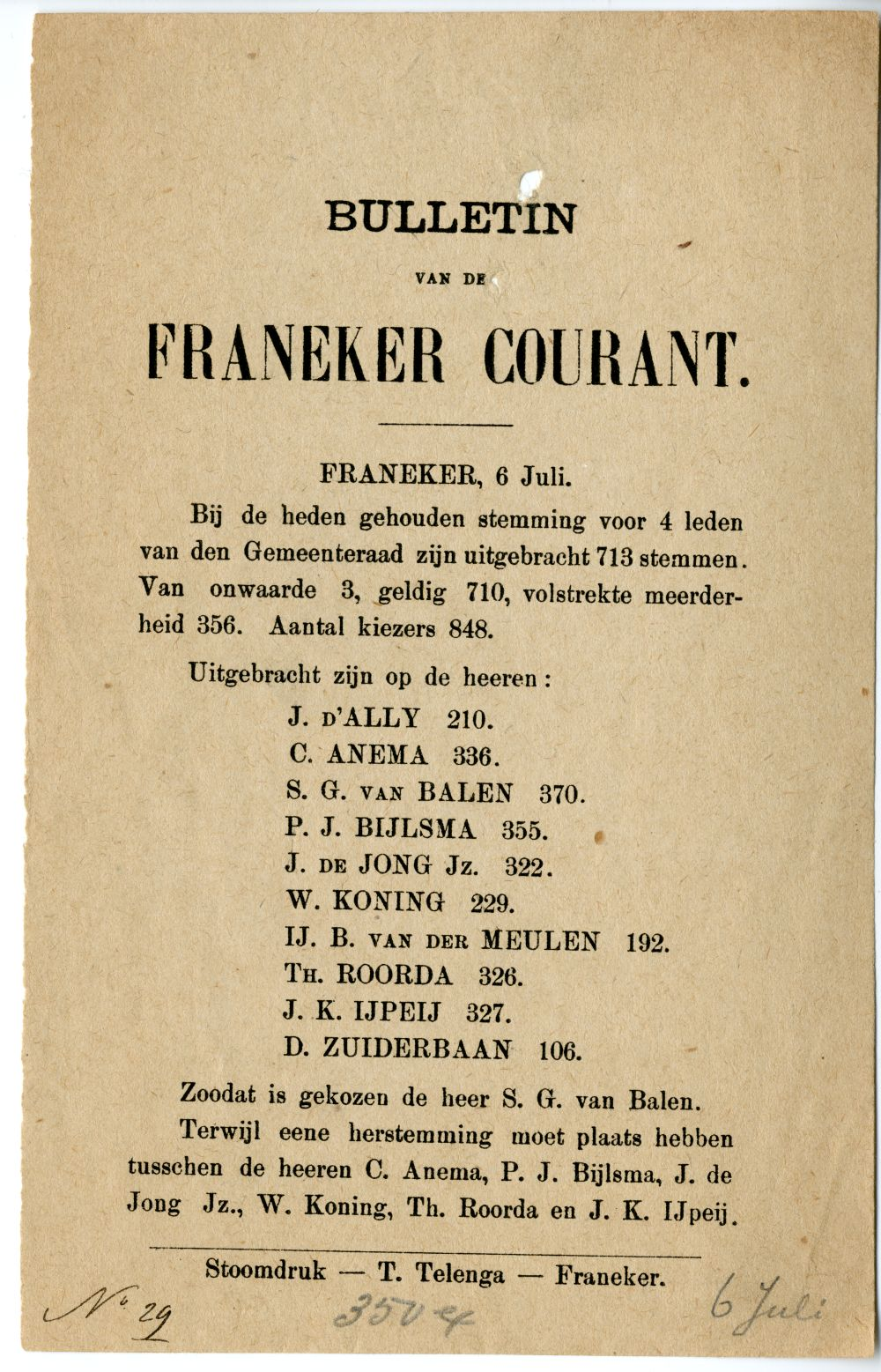 Document van de Franeker Courant