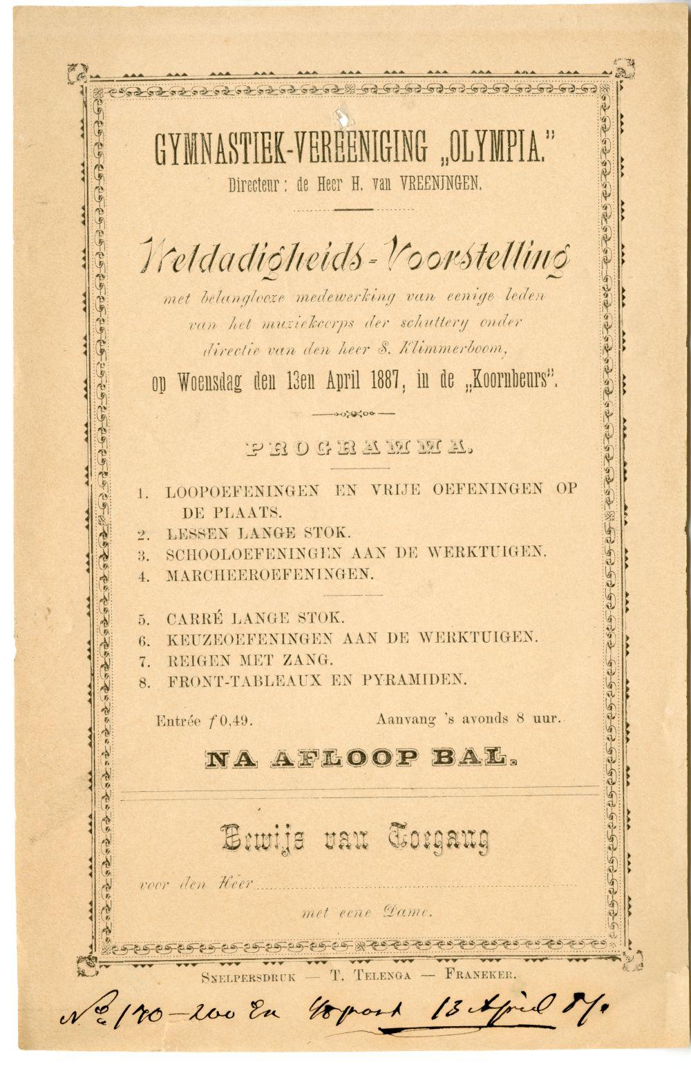 Programma van een uitvoering van de gymnastiekvereniging Olympia