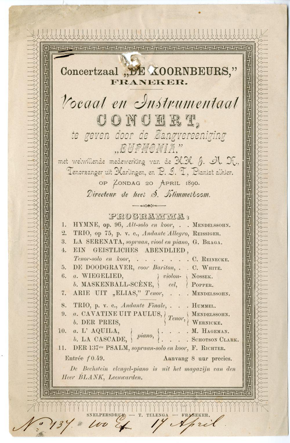 Programma van een concert van Zangvereniging Euphonia