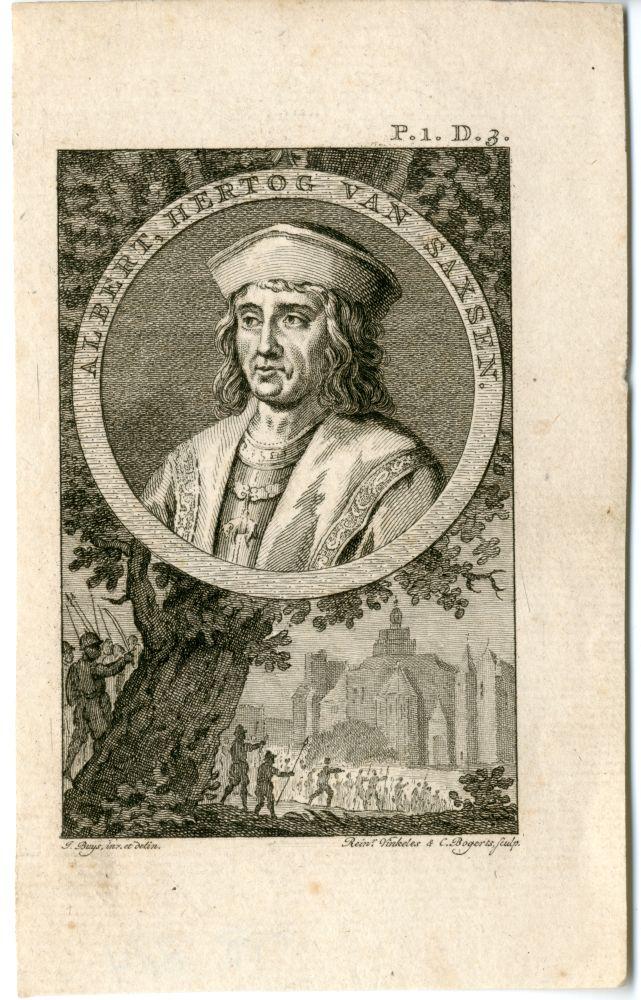 Gravure met een portret van Albert, hertog van Saxen door Rein Vinkeles en C. Bogerts