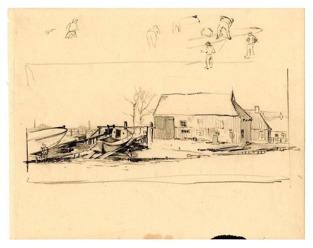 Tekening met potlood van een scheepswerf door Ids Wiersma