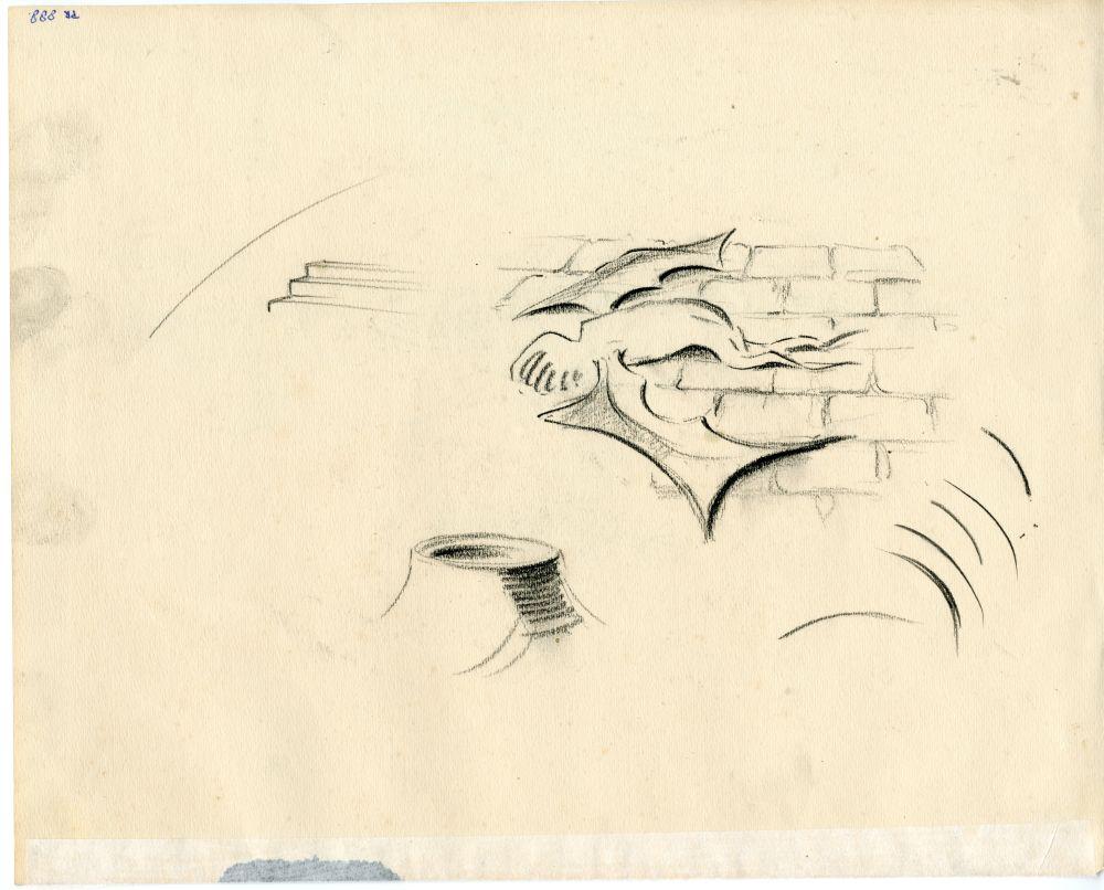 Tekening met potlood van een molen aan het water door Ids Wiersma