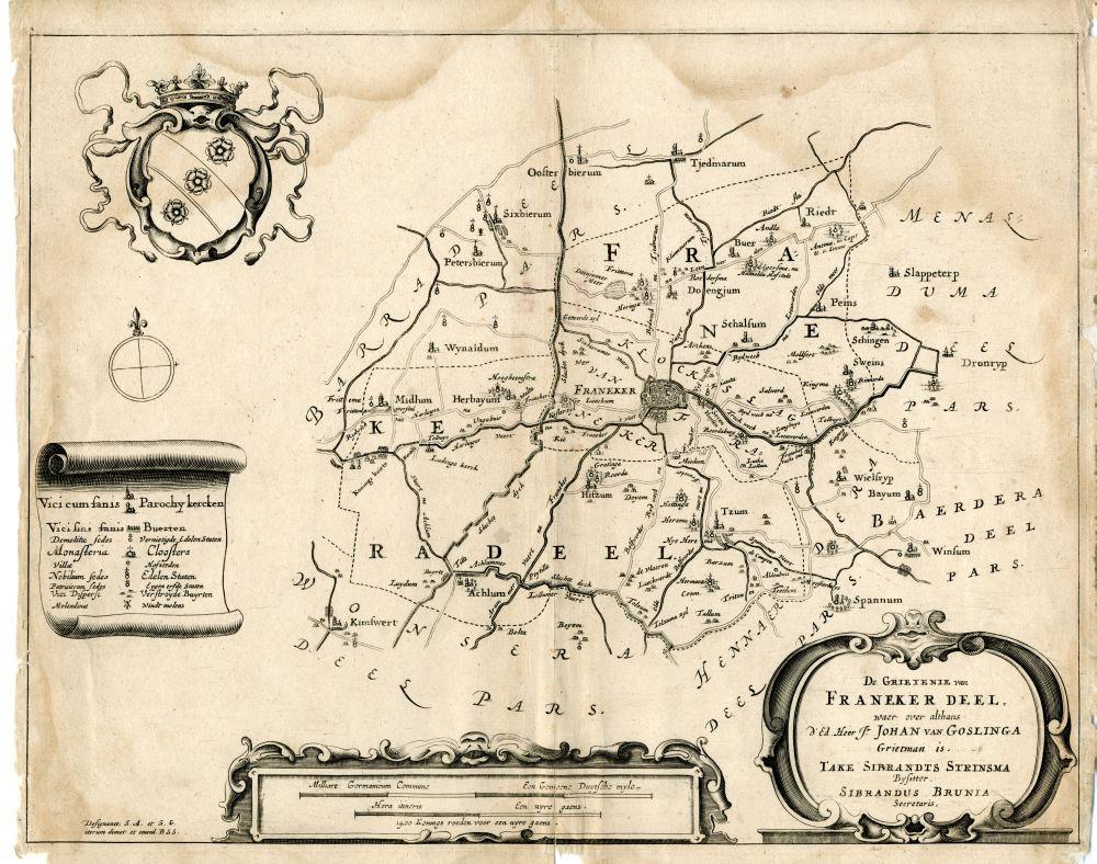 Landkaart van de Grietenij Franekeradeel