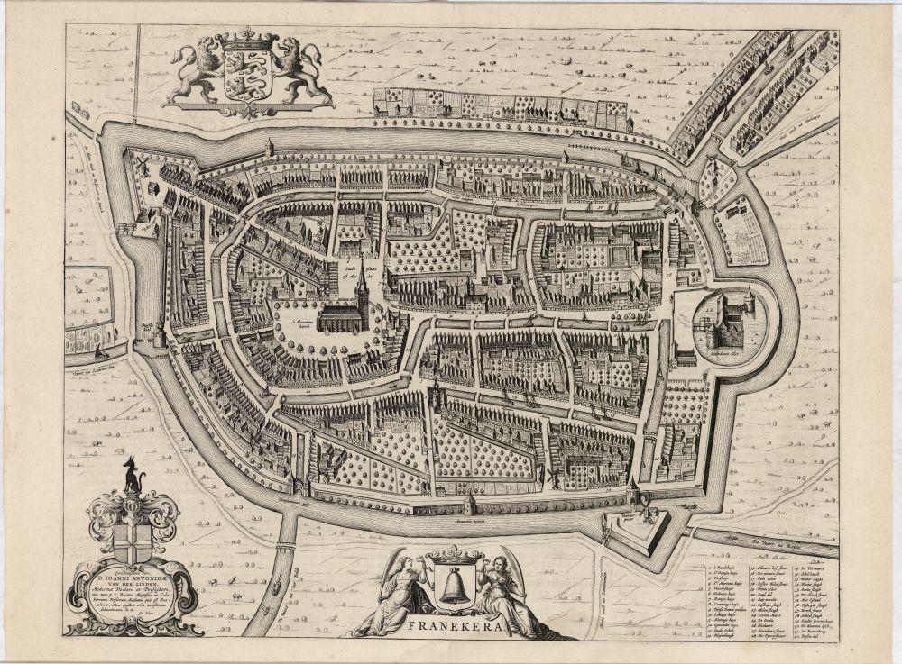 Plattegrond van Franeker met wapens van Friesland en Franeker