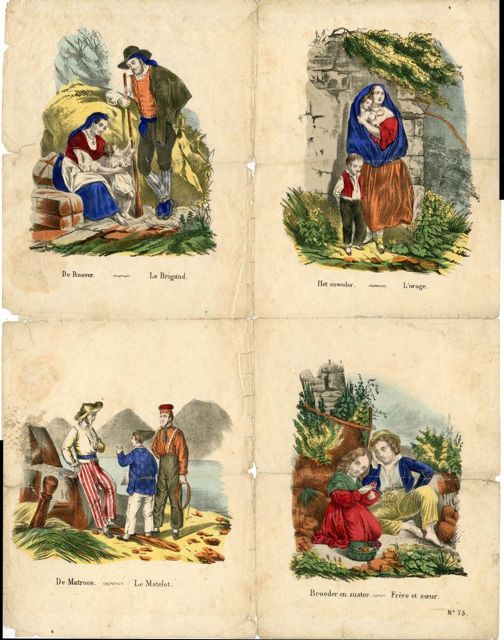 Centsprent met vier afbeeldingen